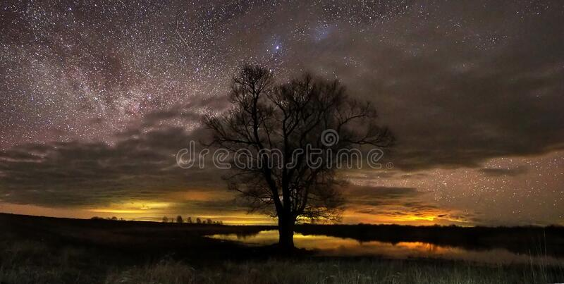 Night sky and milky way stars observing royalty free stock photos