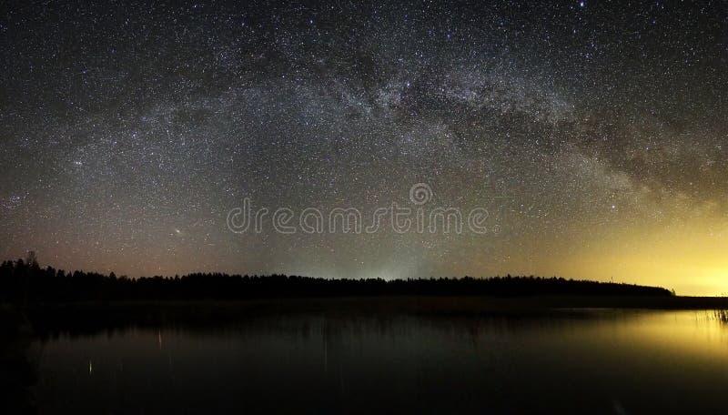 Night sky and milky way stars reflection royalty free stock photography