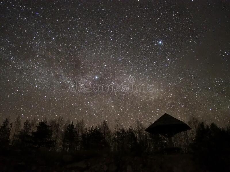 Night sky and milky way stars observing stock photos