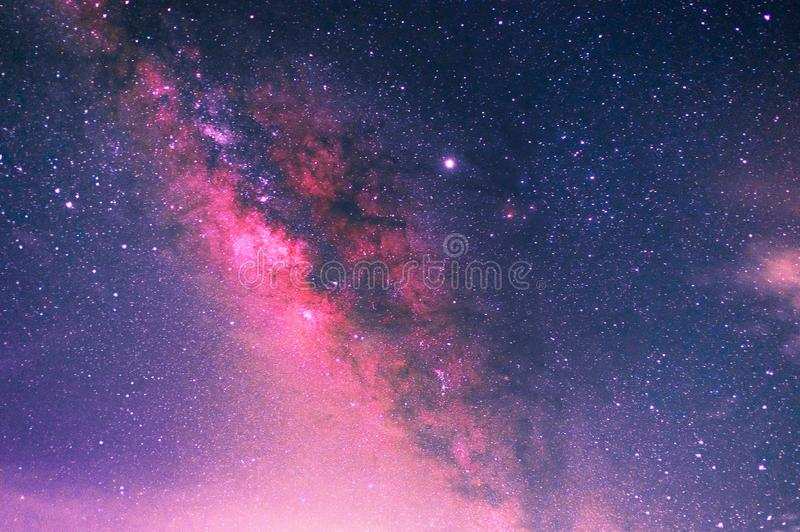 Milky way with stars and space dust in the universe Long exposure photograph with grain. Beautiful of milky way in night sky concept Astronomy and Space royalty free stock photo
