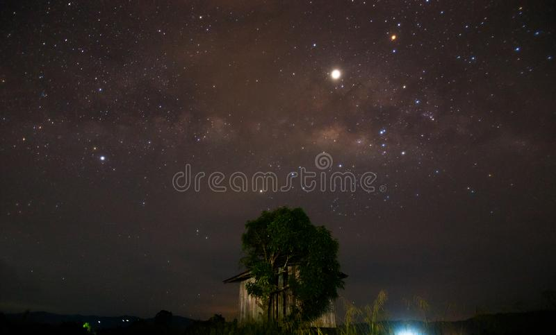 Milky way taken at a rural place in Kota Marudu, Sabah, East Malaysia. Visible noise due to high ISO and wide aperture royalty free stock photos