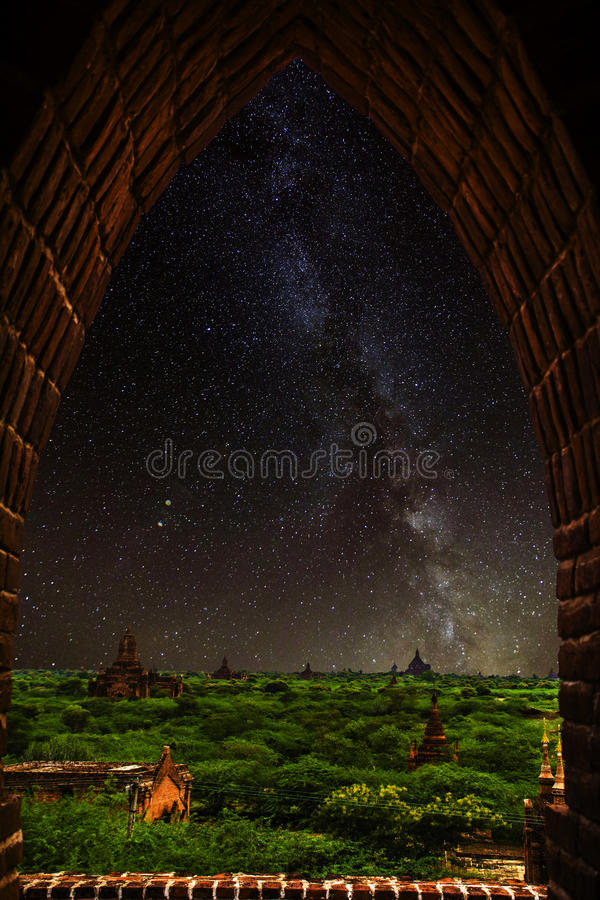 Milky way , temple,bagan,myanmar royalty free stock images