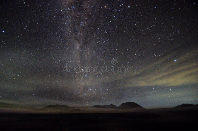 Milkyway bij onderstelbromo, van Oost- Surabaya Java Indonesië royalty-vrije stock afbeelding
