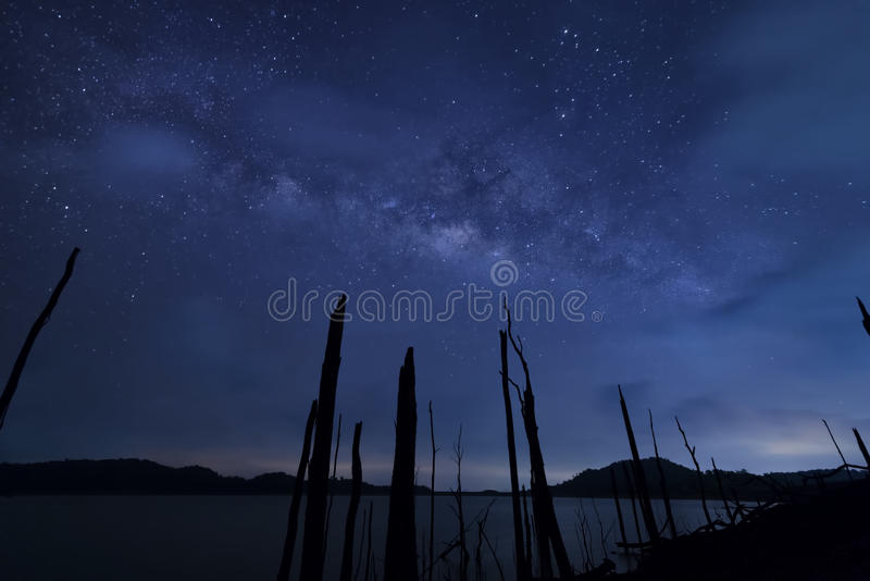 Milkyway and blue sky at night.  stock photography