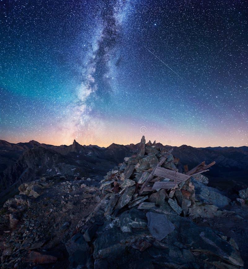 Milkyway in de Franse Alpen royalty-vrije stock foto's