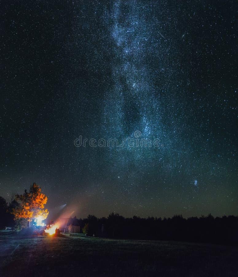 Milkyway de herfst, sterren stock afbeeldingen