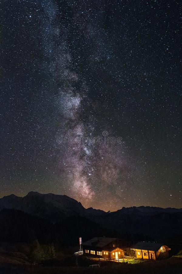 Milkyway nad Gotzenalm blisko Koenigssee, Bavaria obraz stock