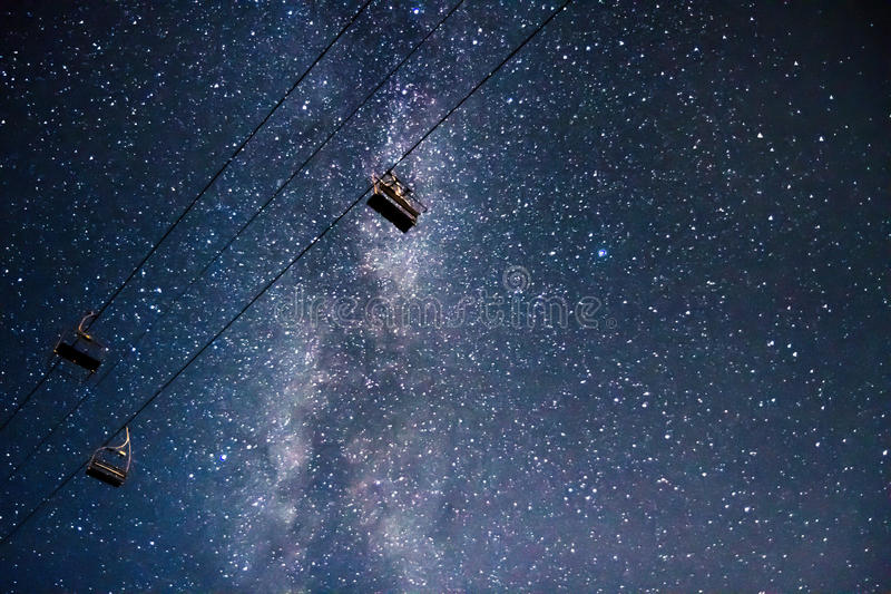 Milkyway chairlift space royalty free stock images