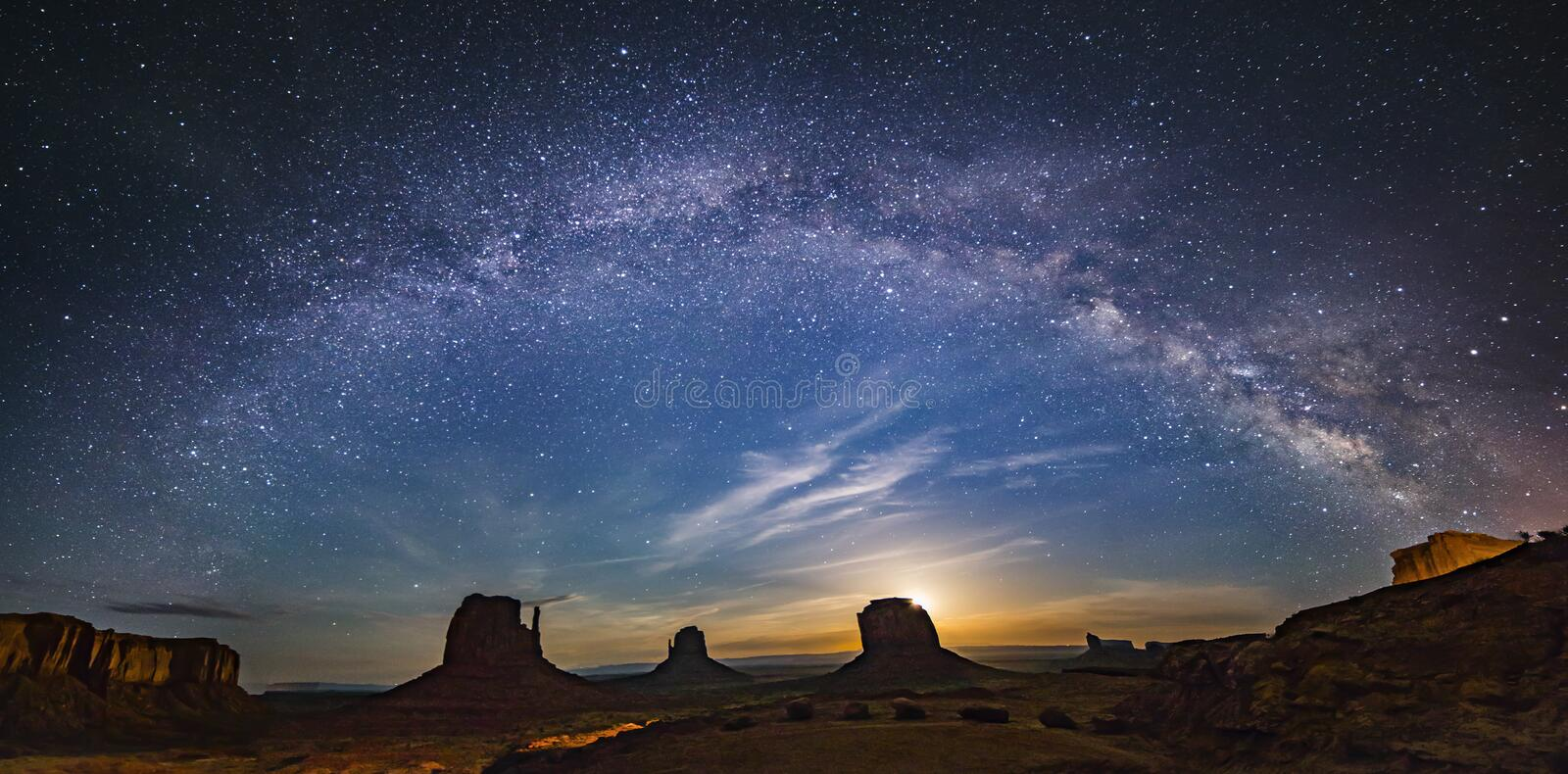 Milkyway over monument valley. With moon rise from background in border of Utah and Arizona, USA stock photos