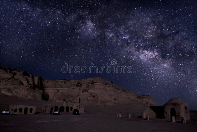 Milkyway in Wadi El Hitan Egypt immagine stock