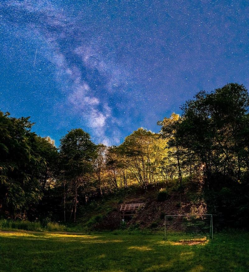 Milkywayen i Tyskland på en vertikal nattpanorama fotografering för bildbyråer