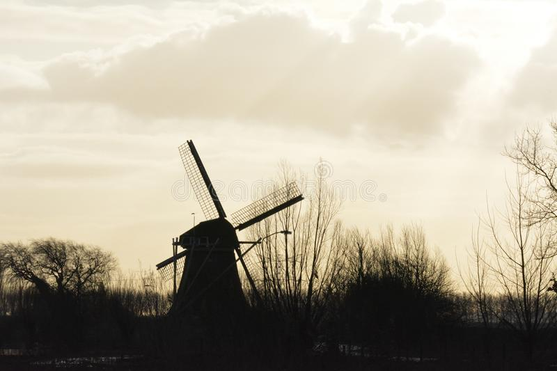 Mill in Abcoude the Netherlands. Mill in the morning sun in November Location: Gein in Abcoude in the Netherlands stock photography