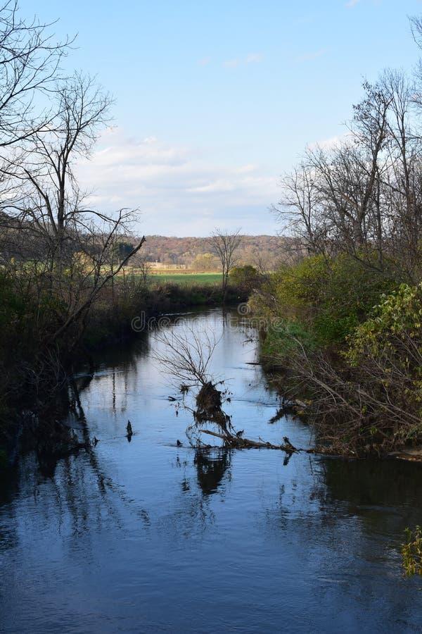 Mill Creek i Ridgeway, Wisconsin arkivfoto