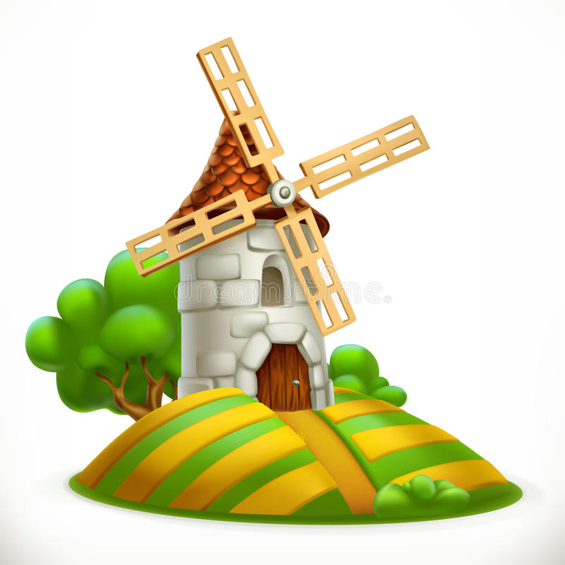 Mill. 3d vector icon stock illustration