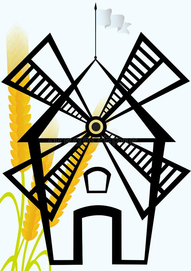 Download Mill and an ear of wheat stock vector. Illustration of agriculture - 20297367