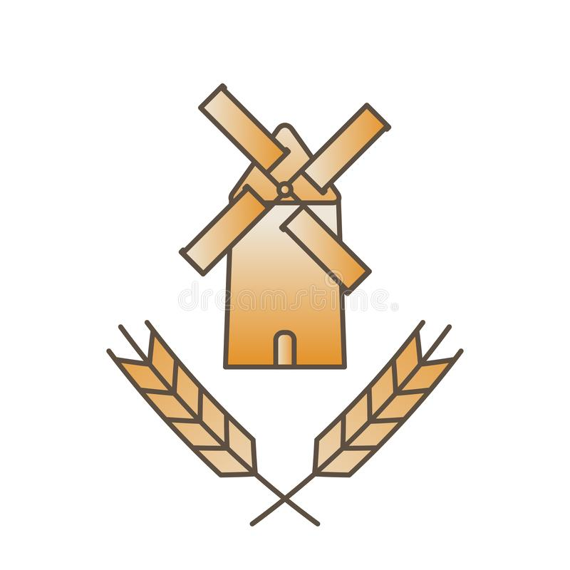 Mill and ears logo - ancient traditional rural windmilll  farm power ecology. Wind mill flat vector illustration royalty free illustration