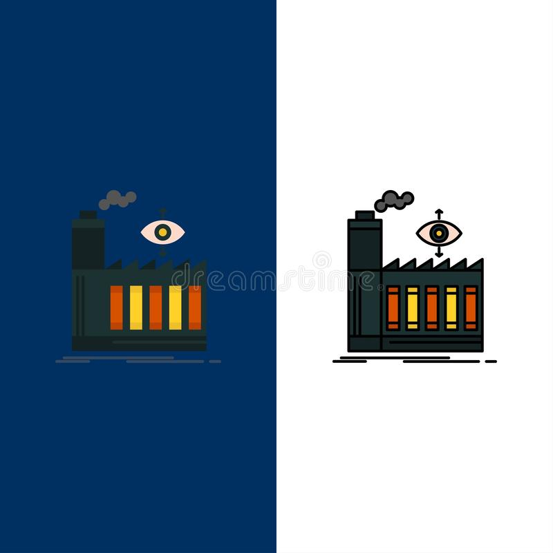 Mill, Factory, Business, Smoke  Icons. Flat and Line Filled Icon Set Vector Blue Background vector illustration