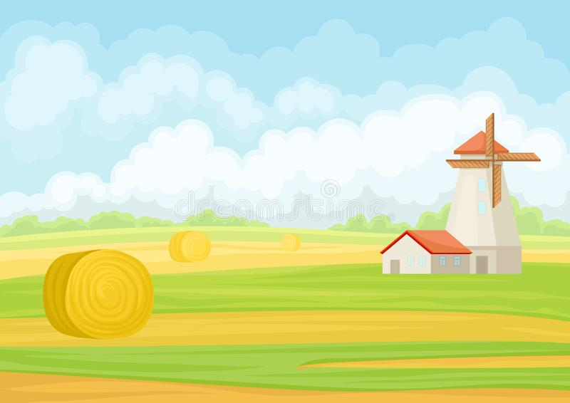 Mill and haystack in the field. Vector illustration on white background. Beautiful landscape with mill and haystack. Vector illustration on white background vector illustration