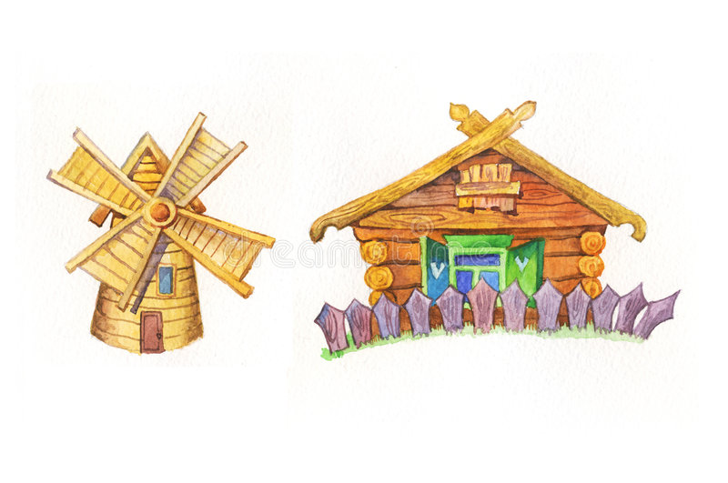 Download Mill and house stock illustration. Illustration of illustration - 7327783