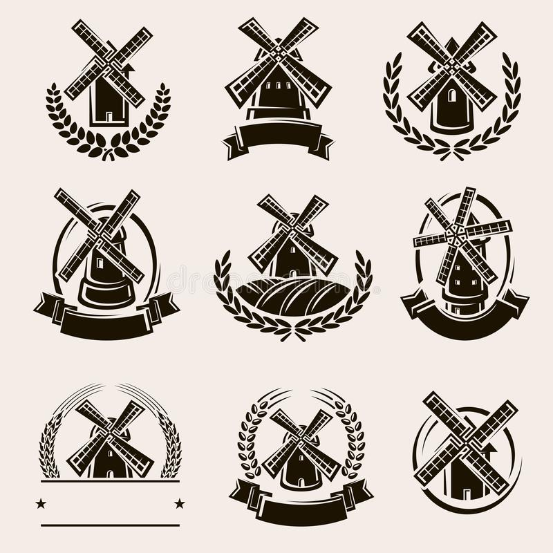 Mill label and icons set. Vector royalty free illustration