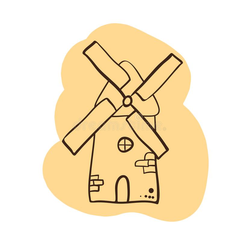 Mill logo - Doodle style - ancient traditional rural windmilll  farm power ecology. Wind mill flat vector illustration royalty free illustration