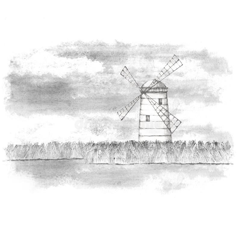 Mill mot ett molnigt himmel Rita med svart och vit hand Vector vektor illustrationer