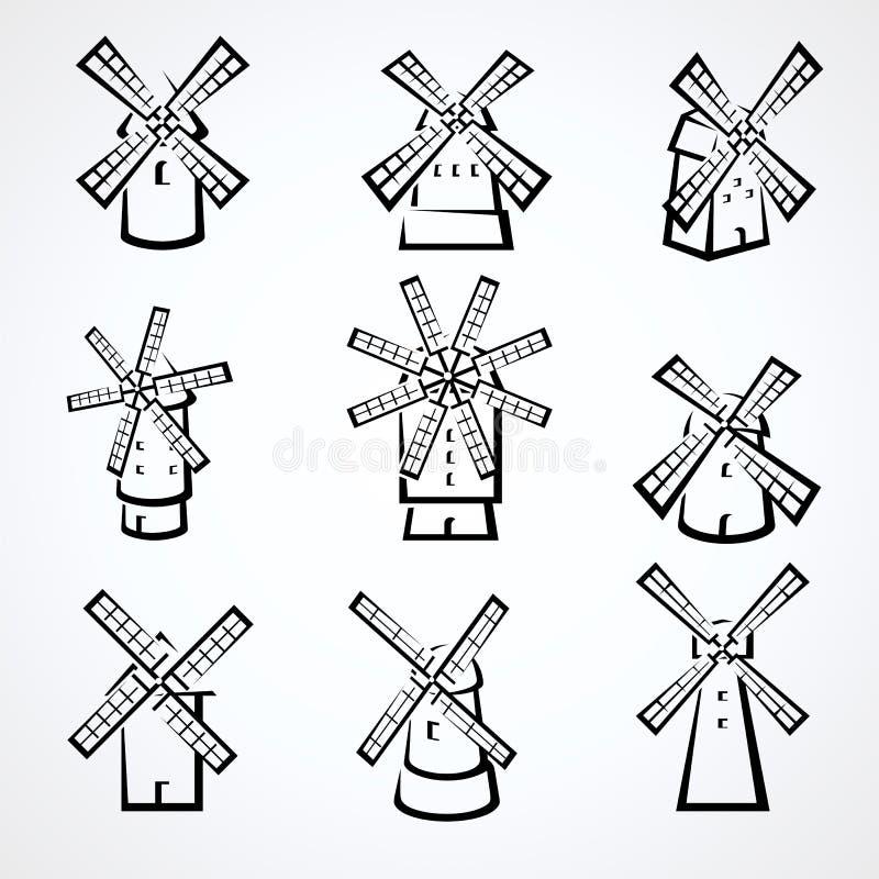 Mill set. Vector royalty free illustration