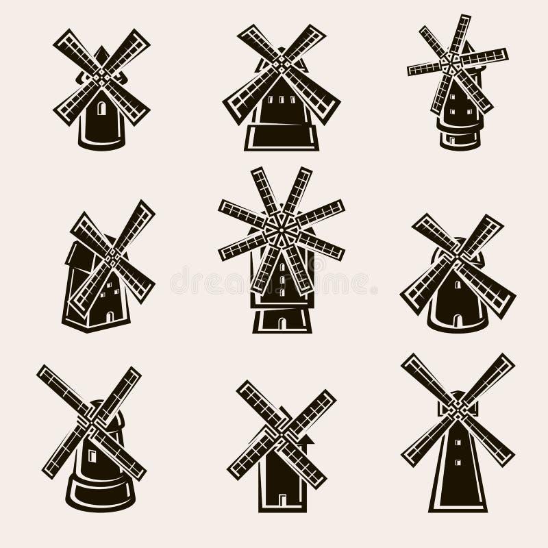 Mill set. Vector stock illustration