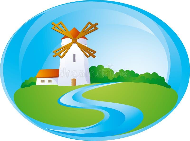 mill tła wiejskich royalty ilustracja