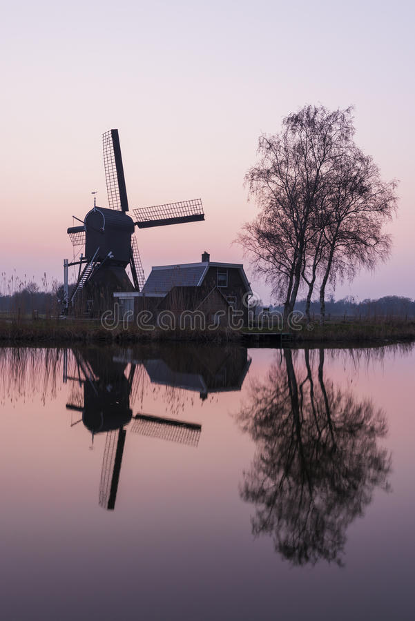 Mill and Tree at Woerdense Verlaat. Mill at Woerdens Verlaat after sunset near the Kromme Mijdrecht and with refelection in the water stock image