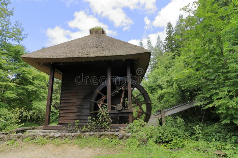 Mill wheel. In Tono, Iwate, Japan stock images