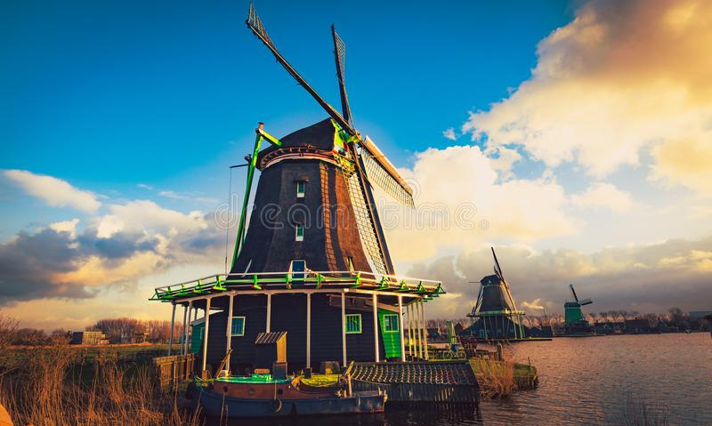 Mill Zaanse schans Zaandam Netherlands royalty free stock photography