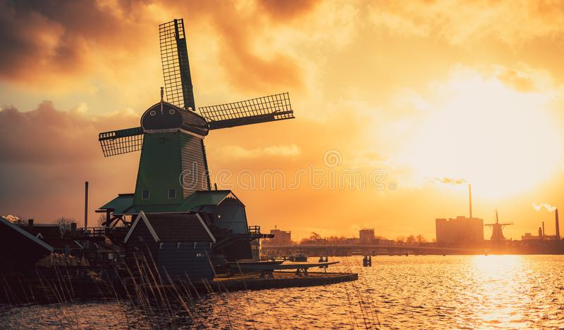 Mill Zaanse schans Zaandam Netherlands royalty free stock photo