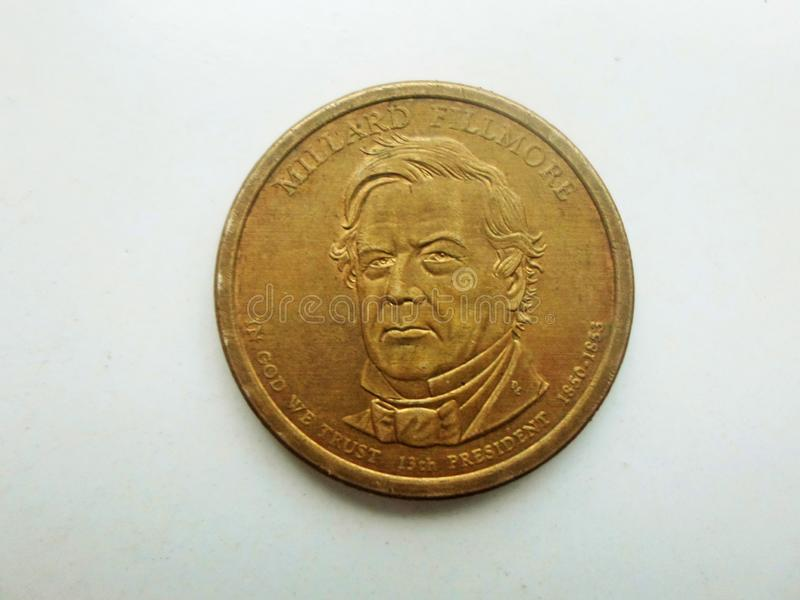 Millard Fillmore-portret op één dollarmuntstuk stock foto's