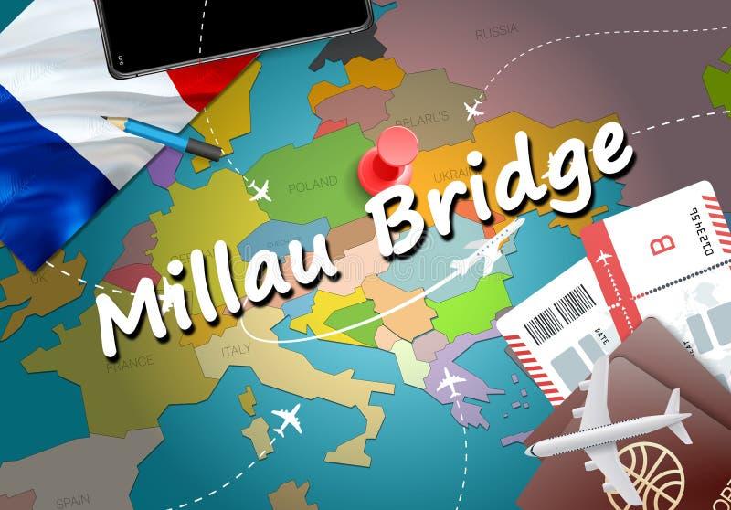 Millau Bridge city travel and tourism destination concept. Franc. E flag and Millau Bridge city on map. France travel concept map background. Tickets Planes and vector illustration