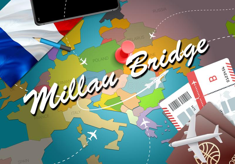 Millau Bridge city travel and tourism destination concept. Franc. E flag and Millau Bridge city on map. France travel concept map background. Tickets Planes and stock illustration
