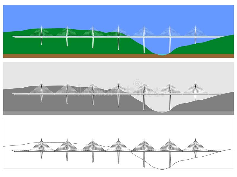 Millau Bridge skyline colored and outline only vector illustration