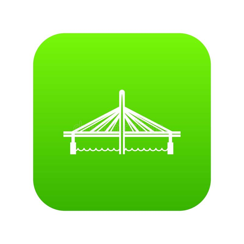 Millau viaduct bridge icon green vector. Isolated on white background royalty free illustration