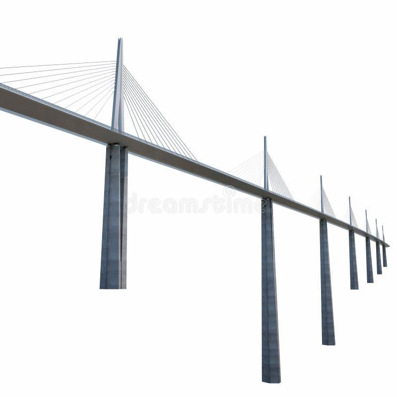 Millau Viaduct Bridge on white. 3D illustration. Millau Viaduct Bridge on white background. 3D illustration stock illustration