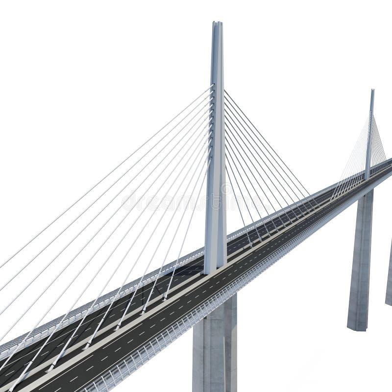 Millau Viaduct Bridge on white. 3D illustration. Millau Viaduct Bridge on white background. 3D illustration vector illustration