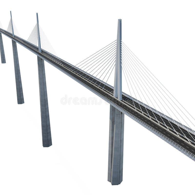 Millau Viaduct Bridge on white. 3D illustration. Millau Viaduct Bridge on white background. 3D illustration royalty free illustration