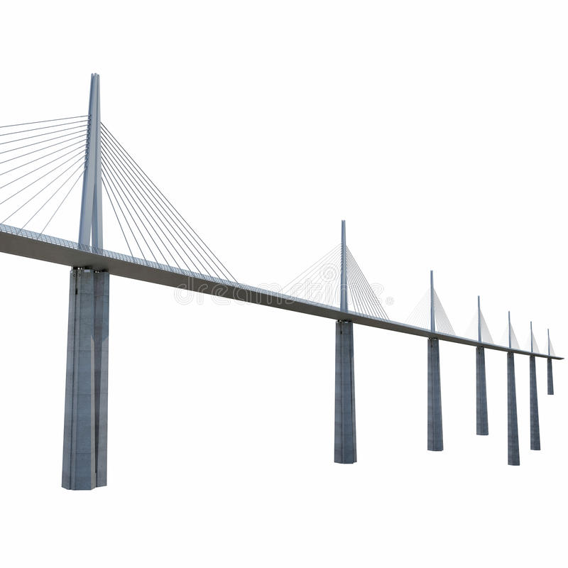 Millau Viaduct Bridge on white. 3D illustration royalty free illustration