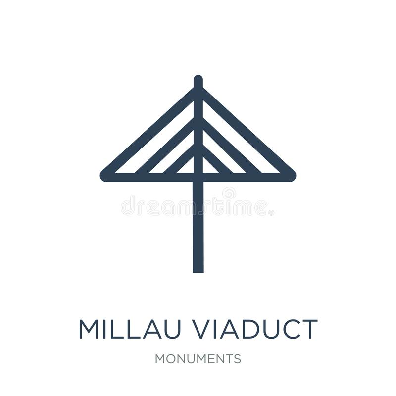 Millau viaduct icon in trendy design style. millau viaduct icon isolated on white background. millau viaduct vector icon simple. And modern flat symbol for web royalty free illustration