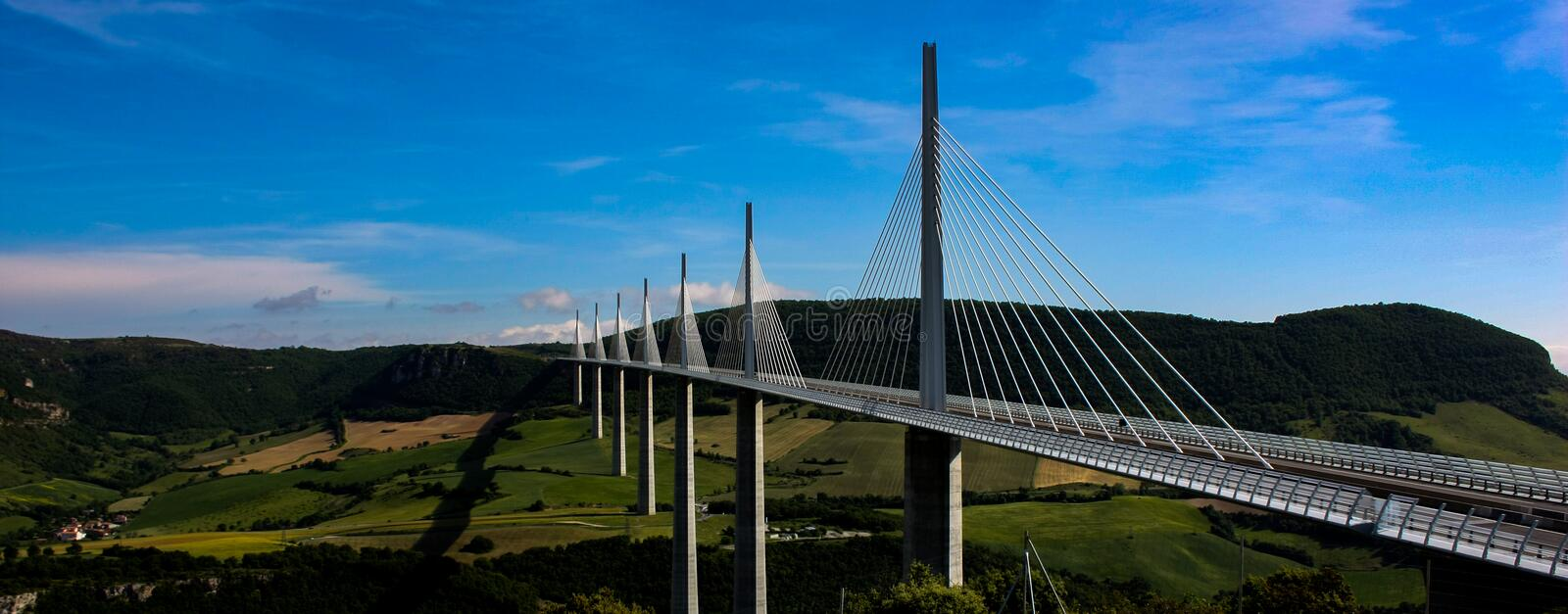 Millau Viaduct, the tallest bridge in Europe panoramic view. Aveyron, travel, structure, highest, suspended, exterior, landmark, valley, highway, construction stock images
