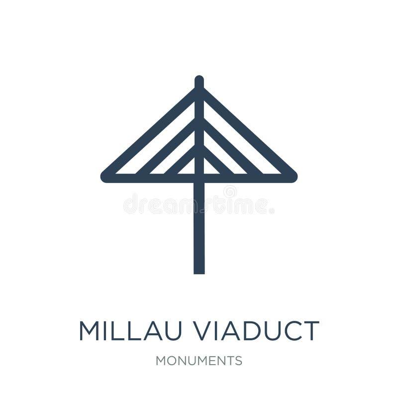 Millau-Viaduktikone in der modischen Entwurfsart Millau-Viaduktikone lokalisiert auf weißem Hintergrund Millau-Viaduktvektorikone lizenzfreie abbildung