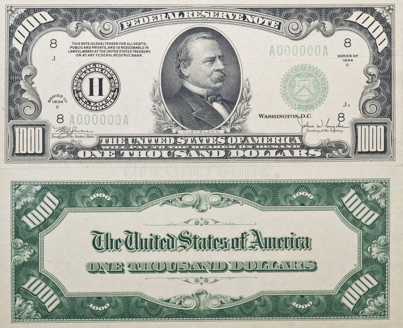 Mille dollari Bill fotografia stock