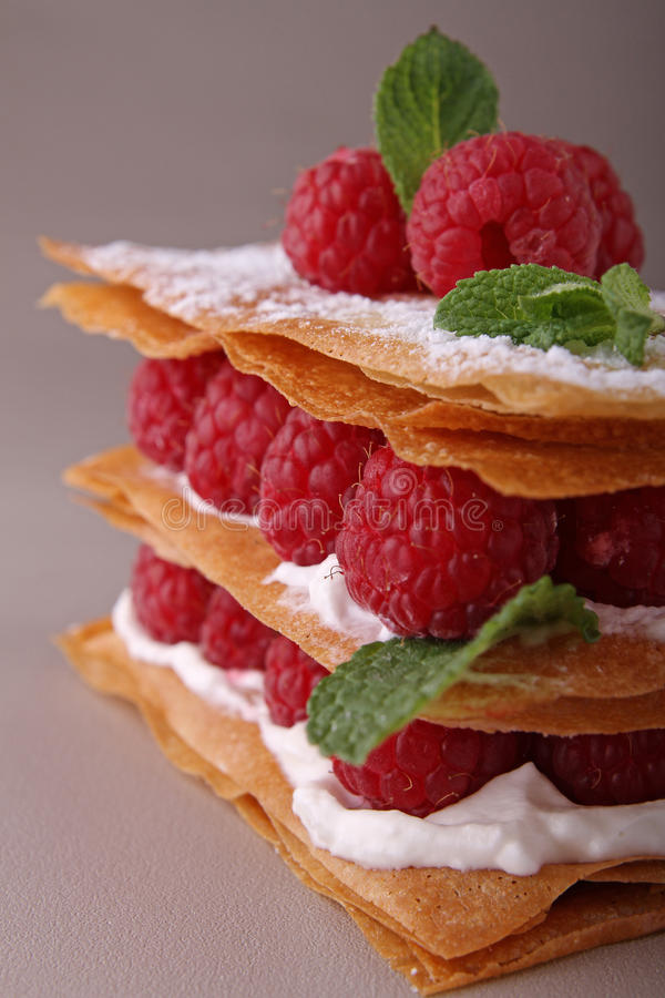 Mille feuille. French dessert, raspberry mille feuille stock images