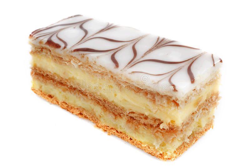 Mille feuille. Pastry in front of white background royalty free stock photos