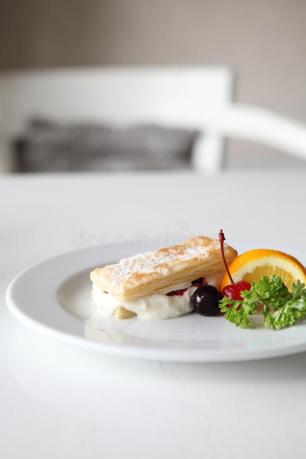 Mille feuille of berries. On a plate stock photos