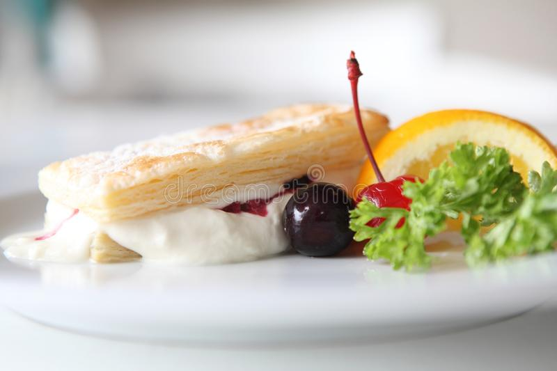 Mille feuille of berries. On a plate royalty free stock images
